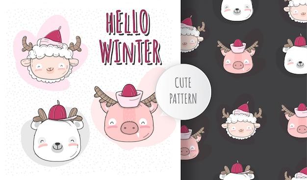 Płaska ilustracja słodkie dziecko twarz zwierząt sezon zimowy