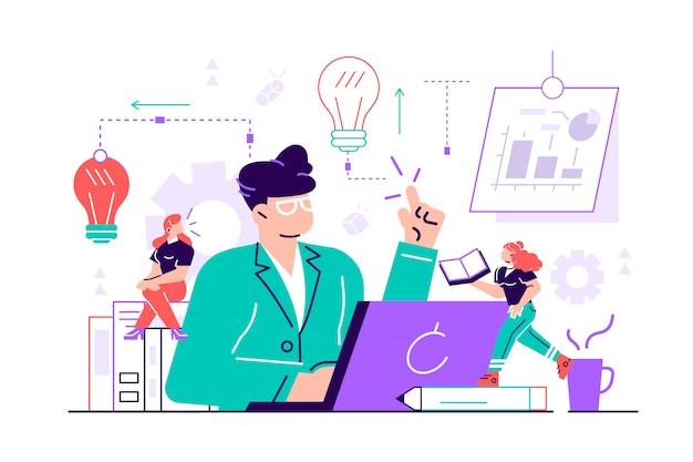 Płaska ilustracja, spotkanie biznesowe i burza mózgów, koncepcja biznesowa pracy zespołowej, poszukiwanie nowych rozwiązań