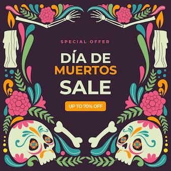 Płaska ilustracja sprzedaży dia de muertos