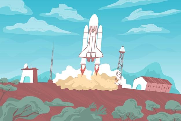 Płaska ilustracja startu rakiety