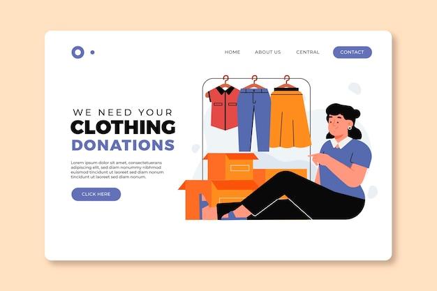 Płaska ilustracja strona docelowa darowizny odzieży