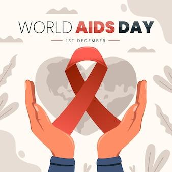 Płaska ilustracja światowego dnia aids