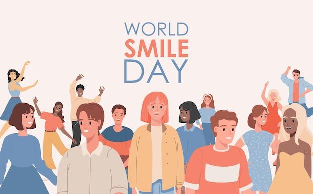 Płaska ilustracja światowego dnia uśmiechu