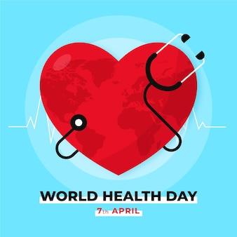 Płaska ilustracja światowego dnia zdrowia
