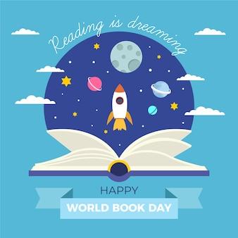 Płaska ilustracja światowy dzień książki