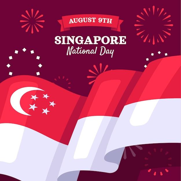 Płaska ilustracja święta narodowego singapuru