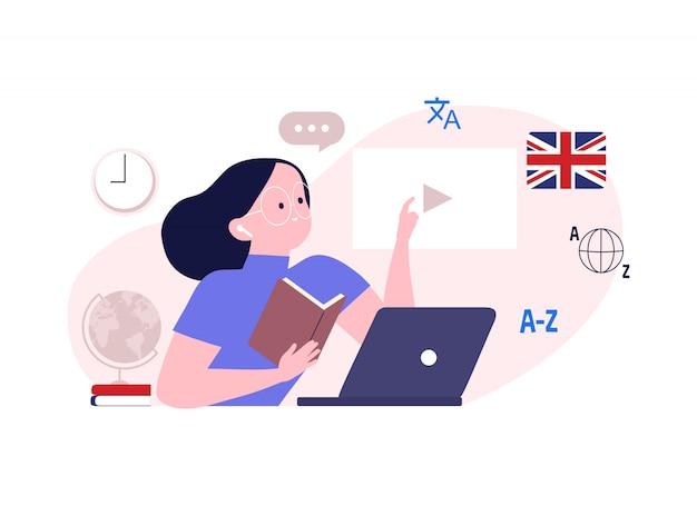 Płaska ilustracja szkoły językowej i kursów online. kobieta oglądając lekcję w serwisie uczy się języka obcego, szkolenia online, e-learning. komunikowanie się cudzoziemców przez internet