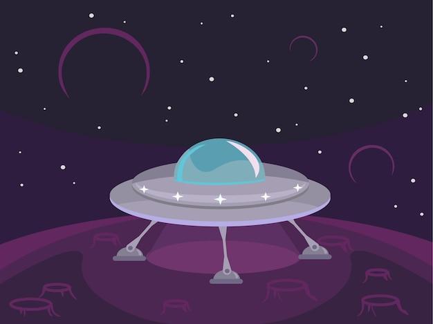 Płaska ilustracja ufo