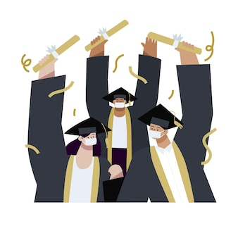 Płaska ilustracja ukończenia szkoły