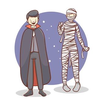 Płaska ilustracja uroczych halloweenowych ludzi w kostiumach
