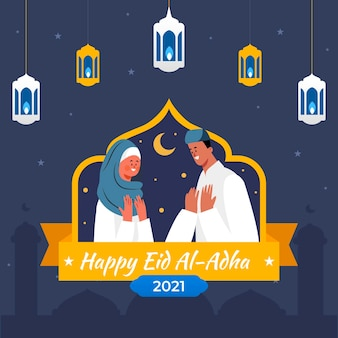 Płaska ilustracja uroczystości eid al-adha