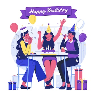 Płaska ilustracja urodzinowa