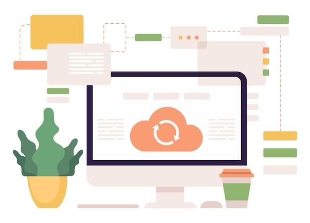 Płaska ilustracja usług sieciowych synchronizacji w chmurze