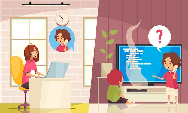 Płaska ilustracja usługi zdalnej pomocy technicznej w centrum obsługi telefonicznej