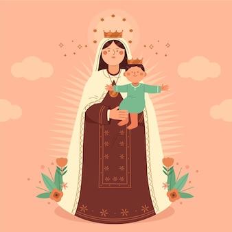 Płaska ilustracja virgen del carmen