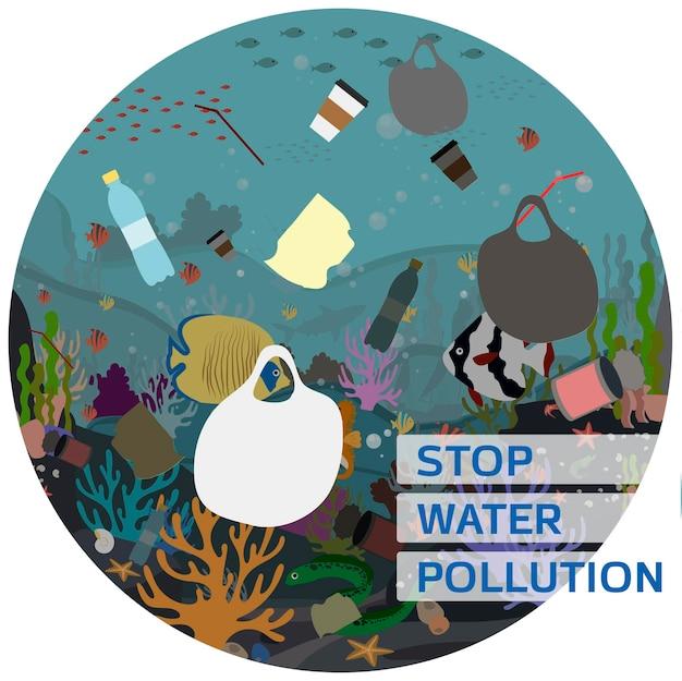Płaska ilustracja wektorowa do ochrony wody i środowiska przed zanieczyszczeniem