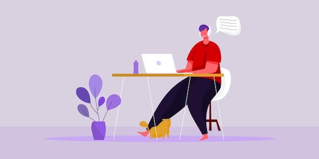 Płaska ilustracja wektorowa praca z koncepcji miejsca pracy w domu i inteligentna praca online połącz koncepcję w dowolnym miejscu