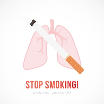 Płaska ilustracja wektorowa z papierosem i płucami