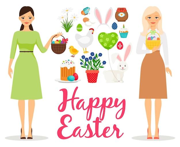 Płaska ilustracja wielkanocy. wiosenne elementy z niedzielnym ciastem i motylem, jajkami i kobiecymi mamami