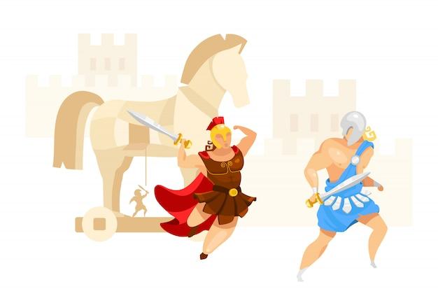 Płaska ilustracja wojny trojańskiej. troja i achilles. wojownicy walczą. atak miasta w budowie koni. mitologia grecka. iliad homera. batalistyczna scena odizolowywał postać z kreskówki na białym tle