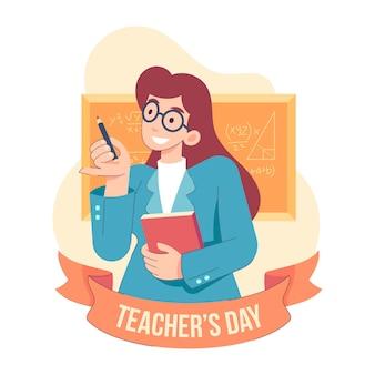 Płaska ilustracja wydarzenia dnia nauczyciela
