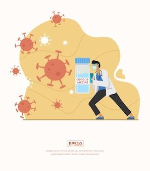Płaska ilustracja z ilustracją lekarza walczącego z wirusem z maską i szczepionką