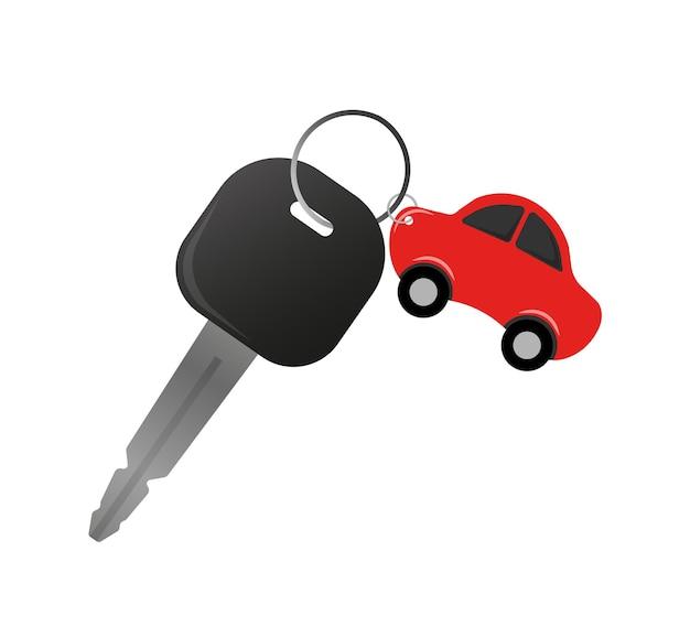 Płaska ilustracja z kluczykiem do wypożyczenia samochodu