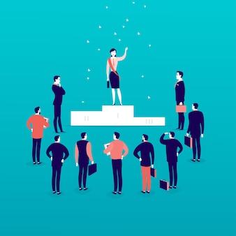 Płaska ilustracja z kobietą sukcesu w biznesie stojącą na podium