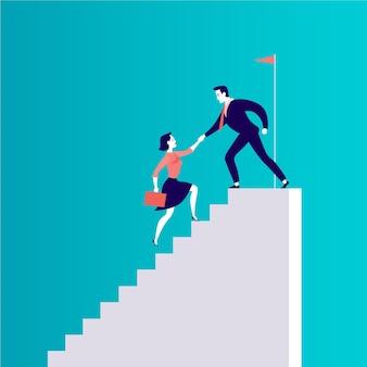 Płaska ilustracja z ludźmi biznesu wspinającymi się razem po najwyższych schodach na białym tle