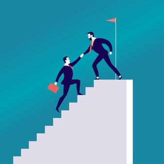 Płaska ilustracja z ludźmi biznesu wspinającymi się razem po schodach na białym tle