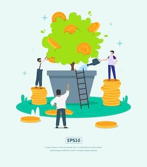 Płaska ilustracja z postacią, roślinami i monetami rozwijającego się biznesu