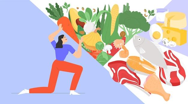 Płaska ilustracja z produktami dietetycznymi lub produktami ekologicznymi lub zrównoważonym odżywianiem