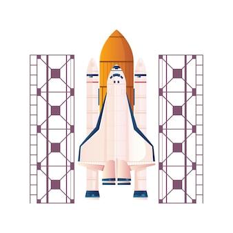 Płaska ilustracja z rakietą kosmiczną gotową do startu na białym tle