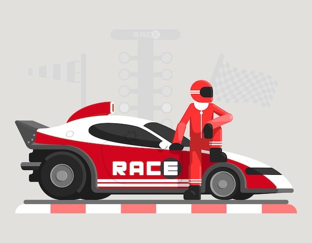 Płaska ilustracja z samochodem wyścigowym i zawodnikiem