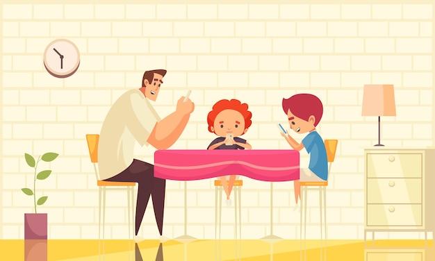 Płaska ilustracja z uzależnieniem od gadżetów z tatą i jego dziećmi siedzącymi przy stole we wnętrzu domu i patrzącymi na smartfony