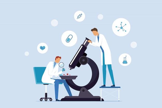 Płaska ilustracja zespół medyczny i naukowcy badają w laboratorium laboratoryjnym koncepcji szczepionki przeciw wirusom