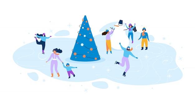 Płaska ilustracja zimowa zabawa dla dzieci i dorosłych.