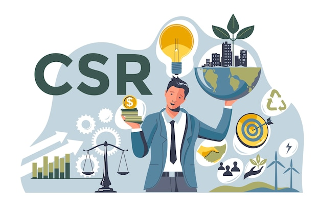 Płaska ilustrowana koncepcja csr