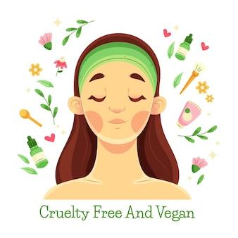 Płaska ilustrowana koncepcja wegańska i wolna od okrucieństwa