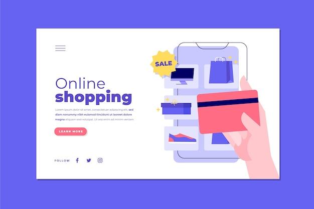 Płaska ilustrowana strona docelowa zakupów online