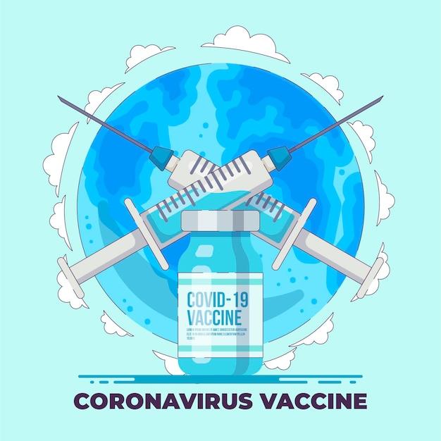 Płaska ilustrowana szczepionka przeciwko koronawirusowi
