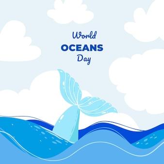 Płaska impreza światowy dzień oceanów z napisem