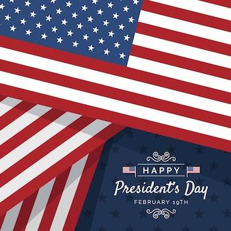 Płaska impreza z okazji dnia prezydenta z flagą