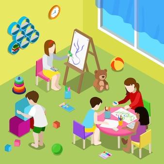 Płaska izometryczna ilustracja z nauczycielem i dziećmi rysującymi i grającymi w przedszkolu lub żłobku