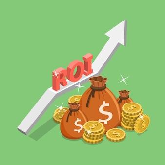 Płaska izometryczna ilustracja zwrotu z inwestycji, roi, marketing cyfrowy.