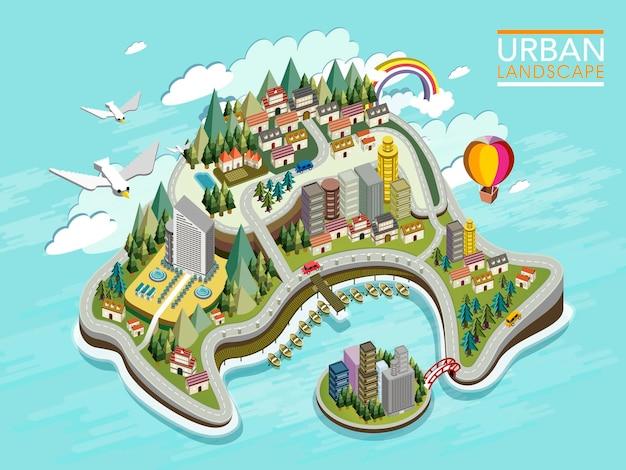 Płaska izometryczna infografika 3d dla pięknego krajobrazu miejskiego z lasem i górami
