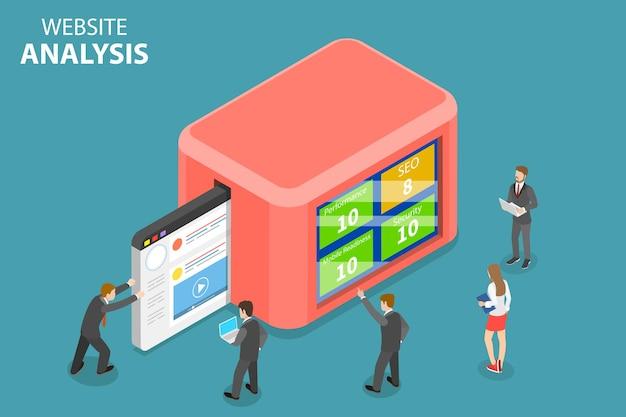Płaska izometryczna koncepcja analizy danych strony internetowej, analityki internetowej, raportu z audytu seo, strategii marketingowej.