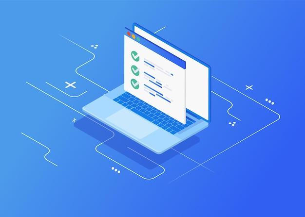 Płaska izometryczna koncepcja głosowania online. kwestionariusz na komputerze pc, wyświetlacz monitora z arkuszem papieru egzaminacyjnego dokumentu.