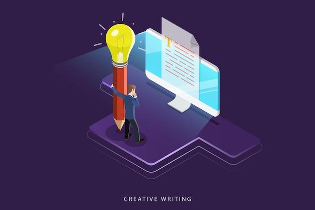 Płaska izometryczna koncepcja kreatywnego pisania, copywritingu, tworzenia treści.
