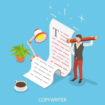 Płaska izometryczna koncepcja kreatywnego pisania